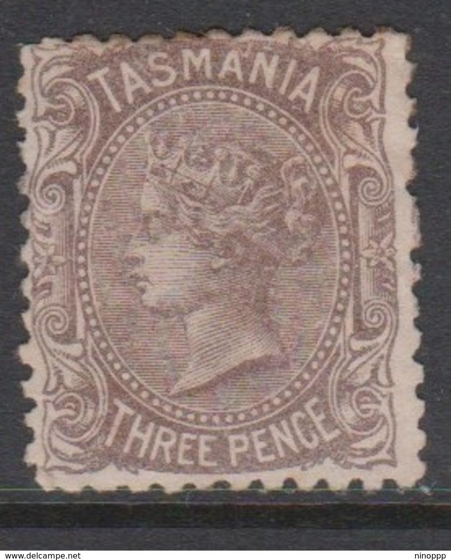 Australia-Tasmania SG 146c 1871 Three Pence Purple Brown,mint Hinged,toned Perf - Mint Stamps