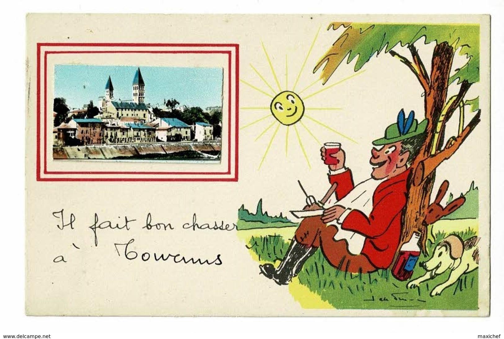 """Fantaisie Illustrée J De Preissac Avec Collage Mini-vue """"Il Fait Bon Chasser à Tournus"""" Pas Circulé - Autres Communes"""