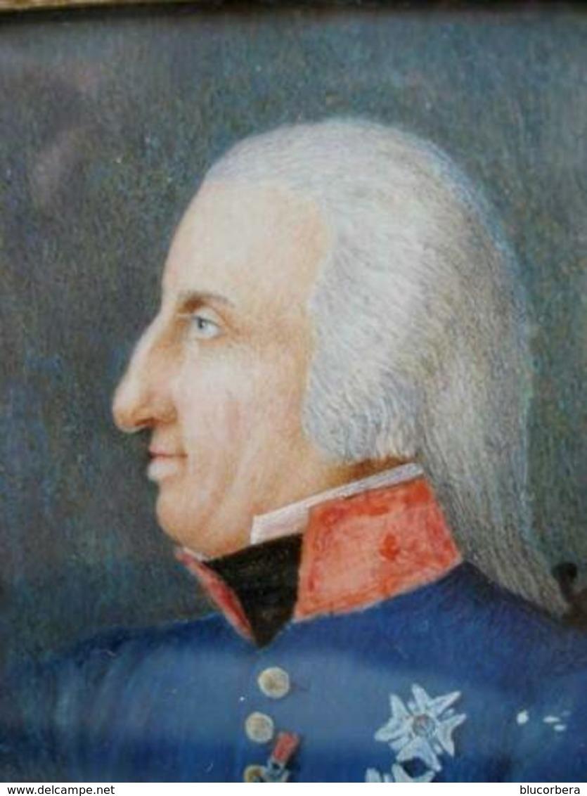 1700 FERDINANDO IV SPLENDIDO RITRATTO IN UNIFORME MILITARE CON RELATIVE MEDAGLIE AL PETTO ORDINE SAN GENNARO. REUNION TO - Stampe & Incisioni