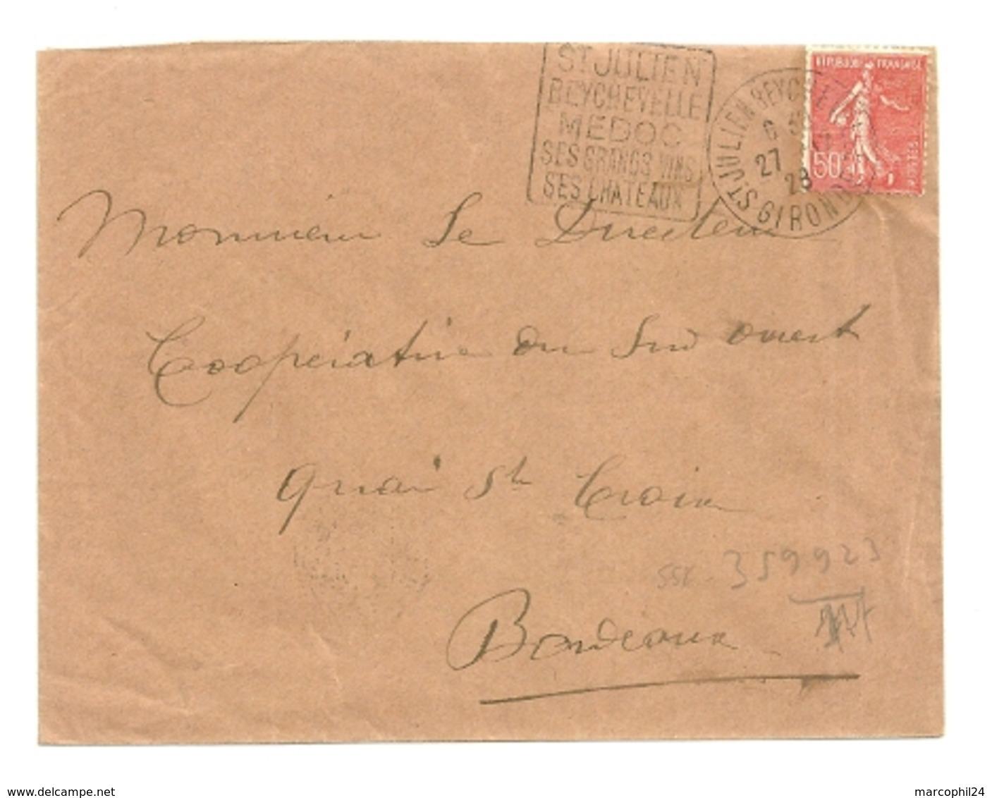 GIRONDE - Dépt N° 33 = St JULIEN BEYCHEVELLE 1928 = Flamme Thème VIN = DAGUIN ' MEDOC / GRANDS VINS /CHATEAUX ' - Poststempel (Briefe)