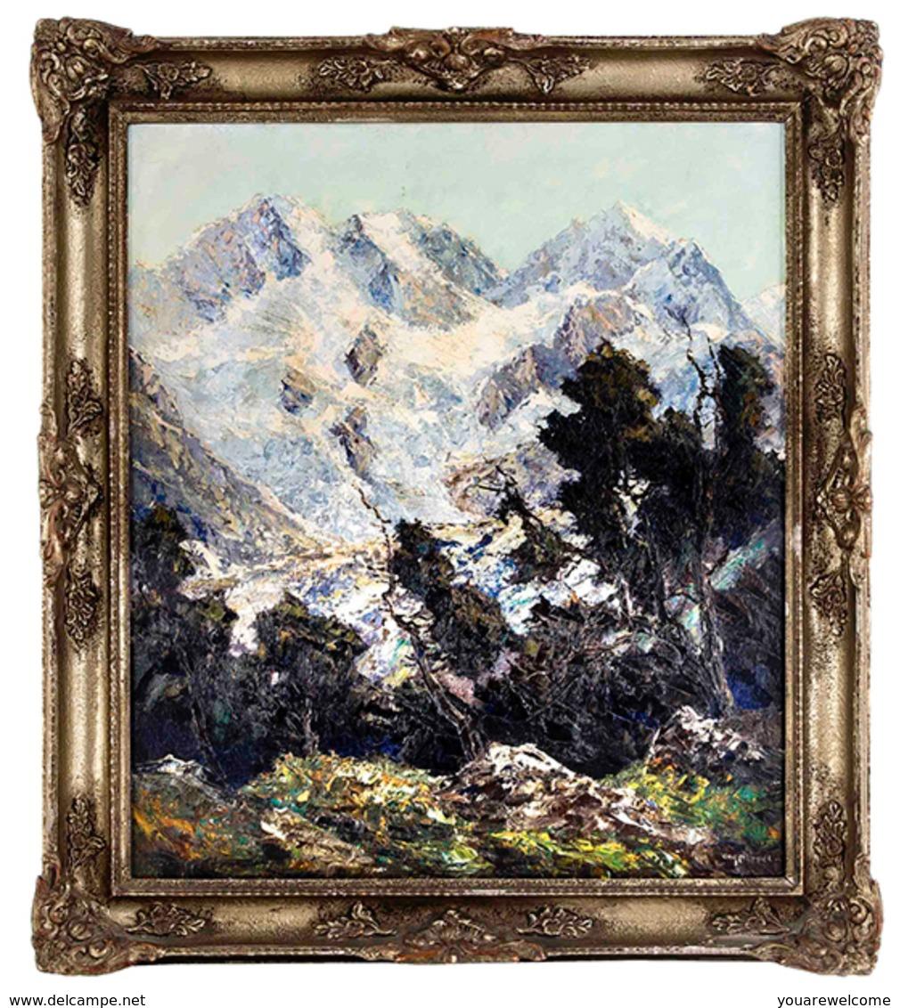 "Pippel Otto 1878 Lódz-Planegg""Piz Roseg""(Kunst Öl Gemälde Art Painting Mountains Berge Graubünden Schweiz Bayern  Poland - Oelbilder"