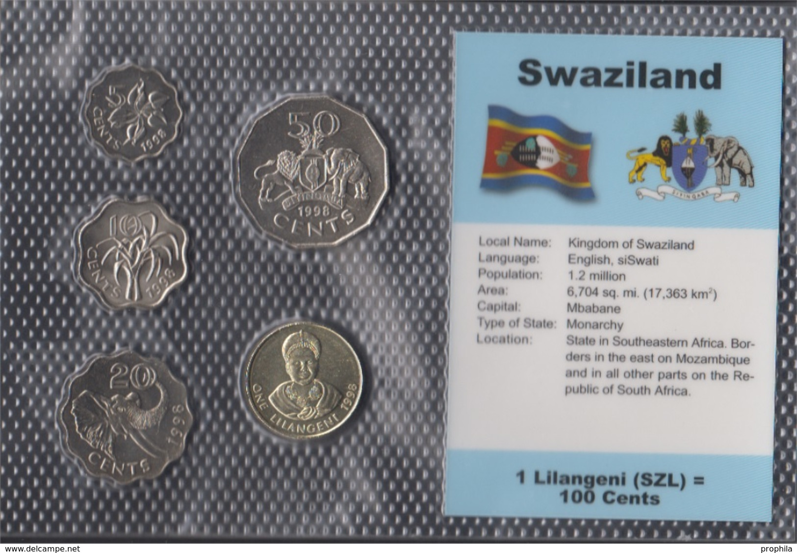 SWAZILAND AFRICA 20 CENTS KM42 1986 ELEPHANT KING UNC CURRENCY MONEY COIN