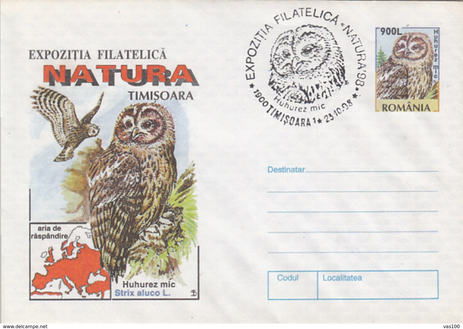 BIRDS, TAWNY OWL, COVER STATIONERY, ENTIER POSTAL, 1998, ROMANIA - Eulenvögel