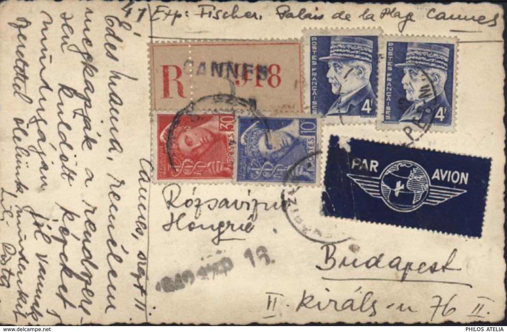 Carte Postale Photo En Recommandé Par Avion YT Petain 522 X2 + Mercure 407 + 412 CAD Cannes 1942 - Poststempel (Briefe)