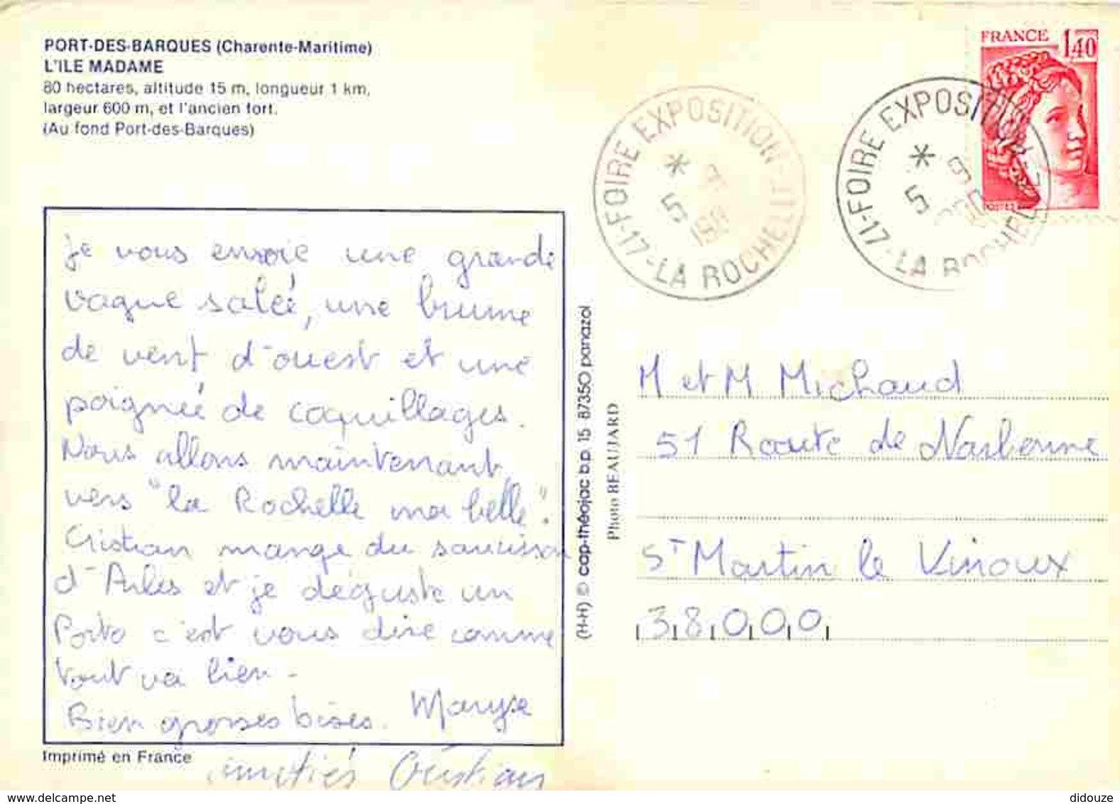 17 - Ile Madame - Vue Générale Aérienne - Voir Scans Recto-Verso - Autres Communes
