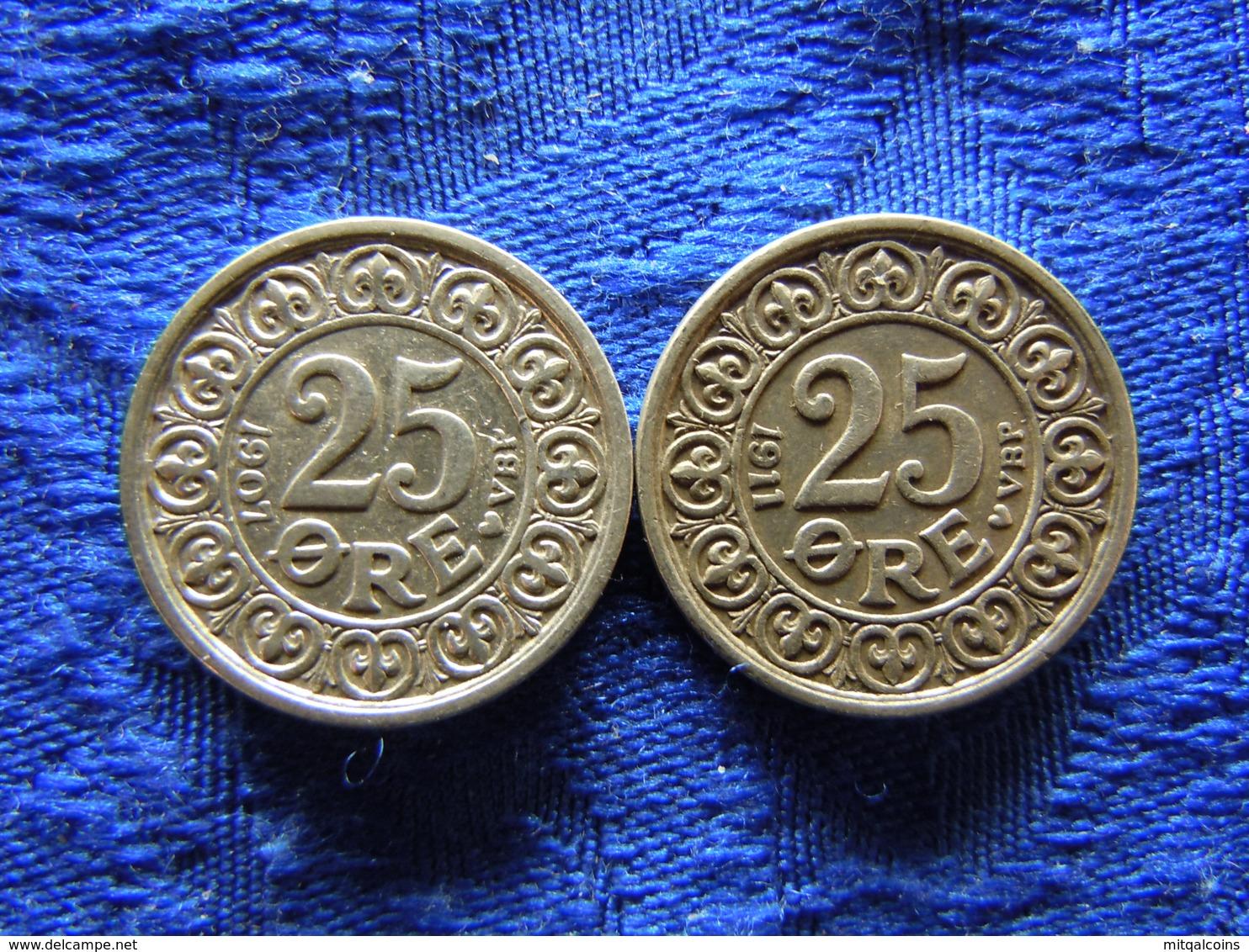 DENMARK 25 ORE 1907, 1911, KM808 - Danemark