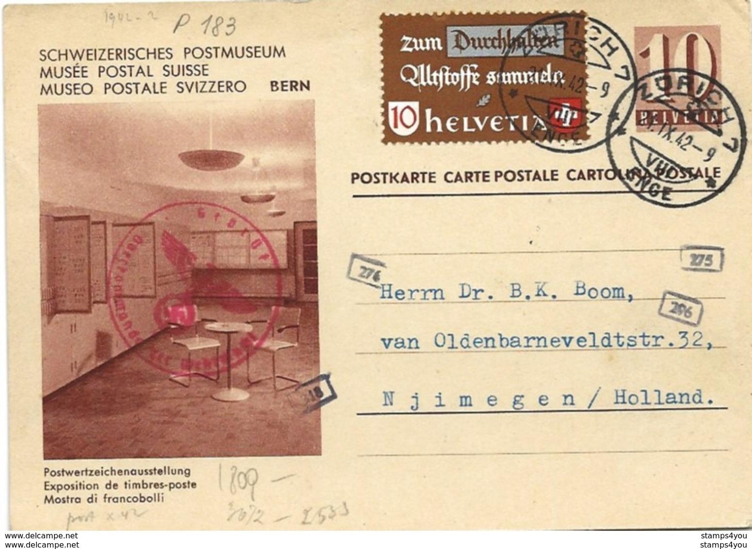 """221 - 78 - Entier Postal Avec Illustration """"Musée Postal"""" Envoyé En Hollande 1942 - Censure - Entiers Postaux"""