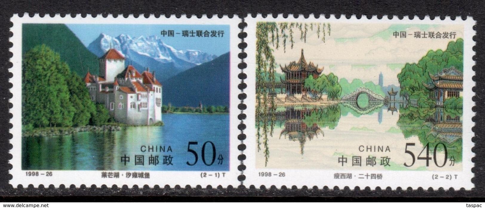 China P.R. 1998 Mi# 2967-2968 ** MNH - Chillon Castle, Lake Geneva / Bridge 24, Slender West Lake, Yangzhou - Unused Stamps