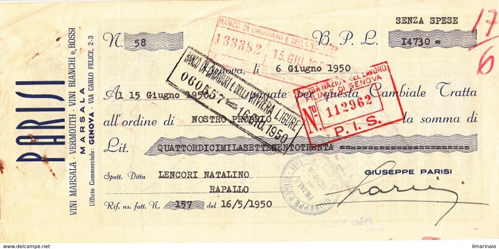 ** PARISI.- (MARSALA).- LIQUORI.-** - Bills Of Exchange
