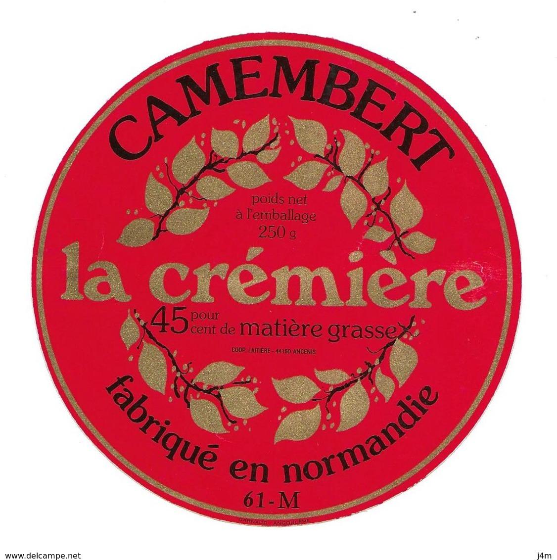 ETIQUETTE De FROMAGE..CAMEMBERT Fabriqué En NORMANDIE (Orne 61-M)..La Crémière - Cheese