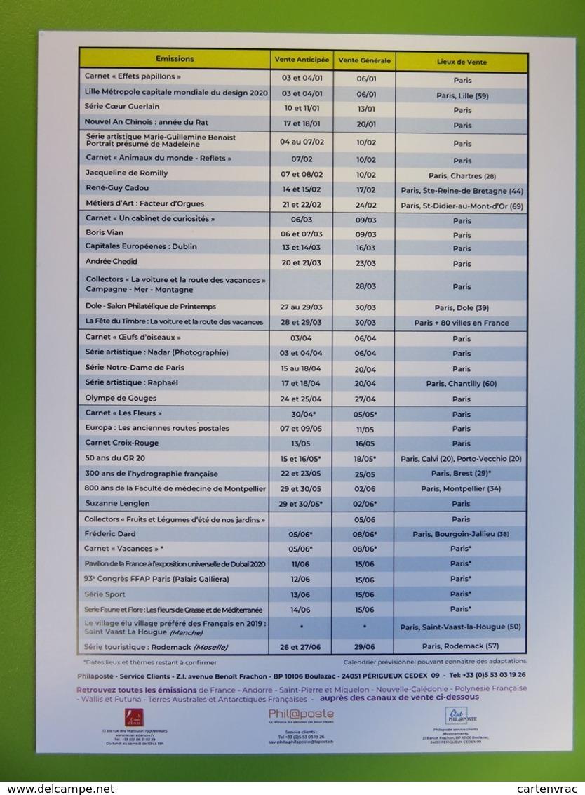 Calendrier Programme Philatélique 2020 - Emissions Du Premier Semestre - Phil@poste - Guerlain - Documentos Del Correo