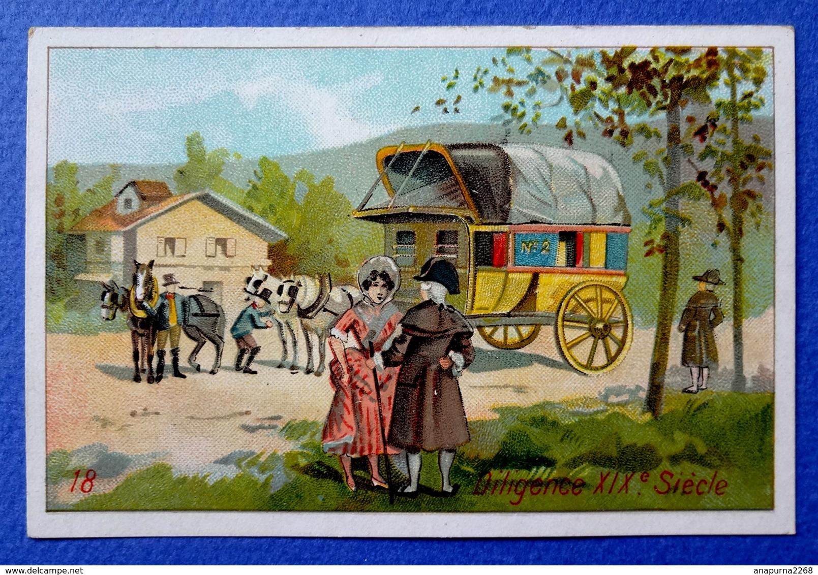 CHROMO....... A LA BELLE JARDINIÈRE...ATTELAGE ET TRANSPORT....DILIGENCE XIX Eme SIÈCLE - Trade Cards