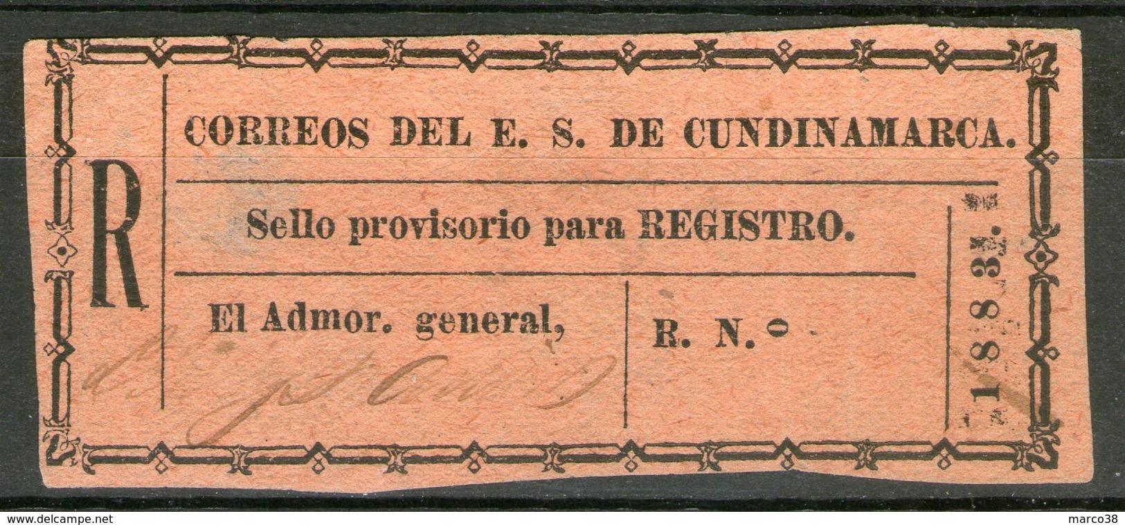 COLOMBIE: CUNDINAMARCA, Timbre Pour Lettre Chargée N°1 NSG      - Cote 25€ - - Colombie