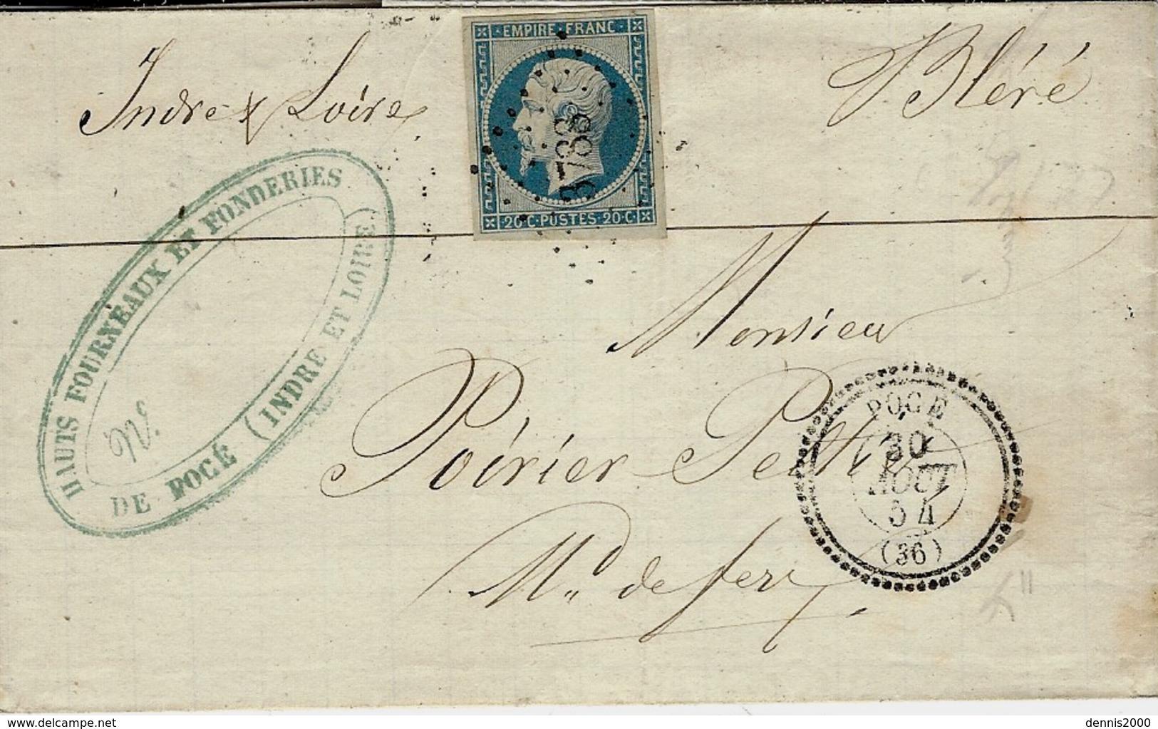 1854 - Lettre De POCE  ( Indre Et Loire ) Cad T22 Affr. N°14 Oblit. P C 3788 - 1849-1876: Klassik