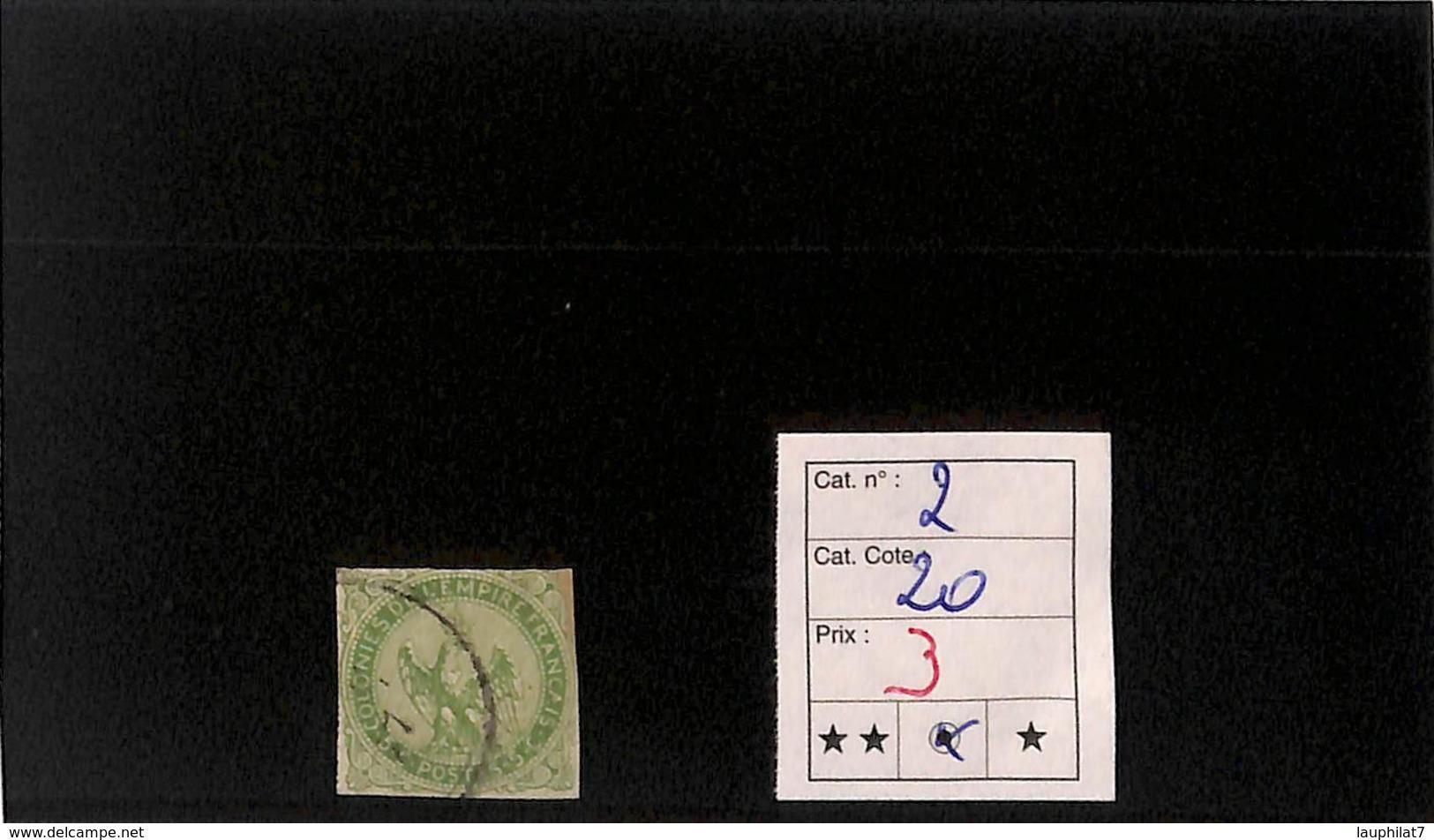 [816736]B/TB//O/Used-c:20e-France (colonies) 1859 - N° 2, 2c Vert, Aigle Impérial - Aigle Impérial