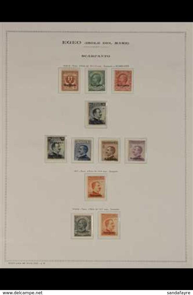 "SCARPANTO 1912-1922 ""Scarpanto"" Local Overprints Complete Set (SG 3K/13K, Sassone 1/11), Fine Mint, Some Are Never Hinge - Italia"