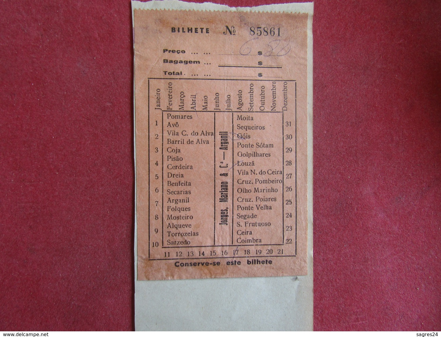 Ticket De Transporte De Jorges,Mariano & Cª - Arganil - Bilhete De Transporte - Bus