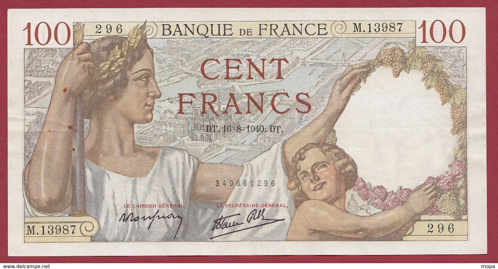 "100 Francs ""Sully"" Du 16/08/1940.D.T---TTB+---ALPH .M.13987 - 100 F 1939-1942 ''Sully''"
