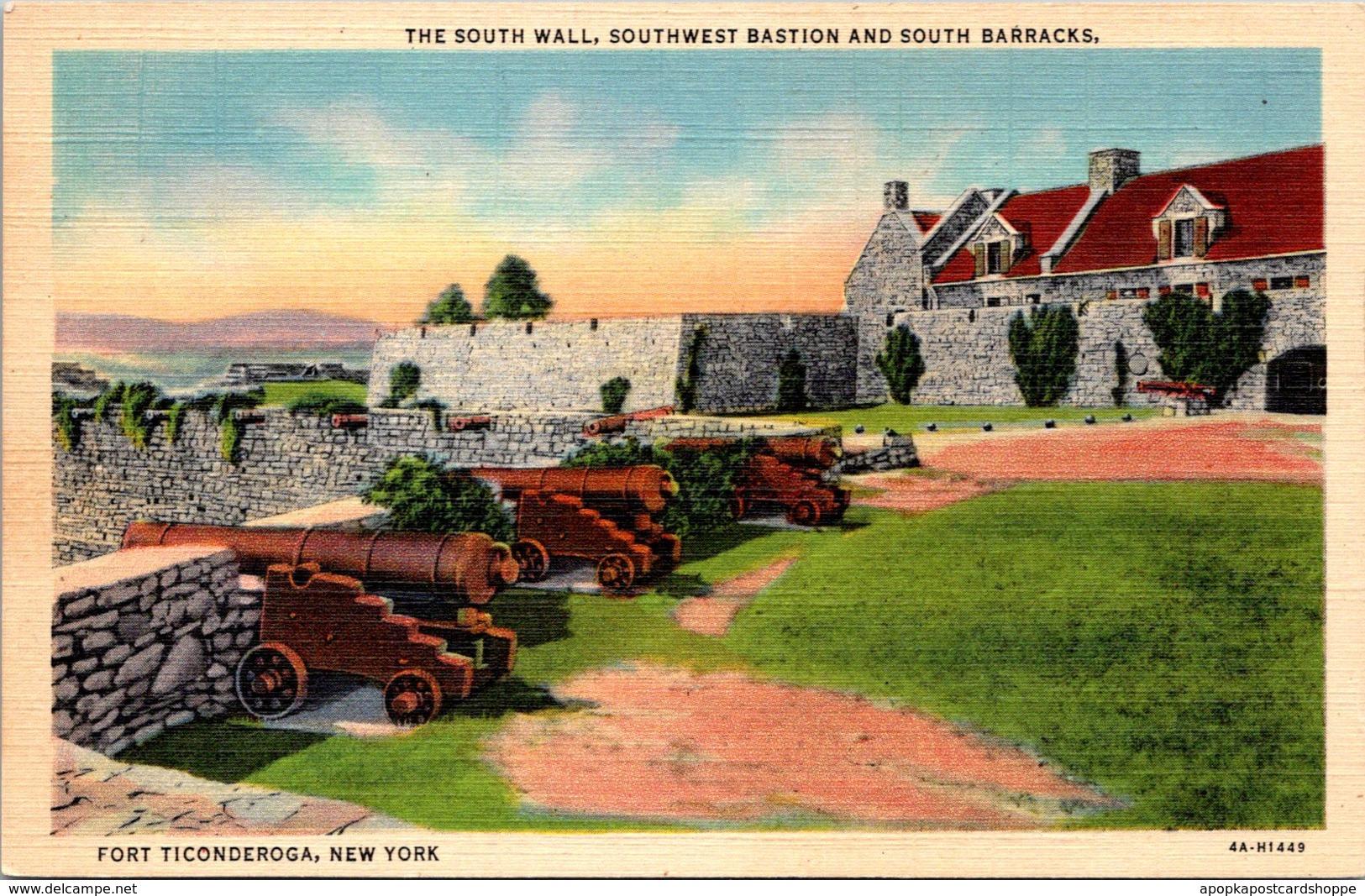 New York Fort Ticonderoga South Wall Southwest Bastion & South Barracks Curteich - NY - New York