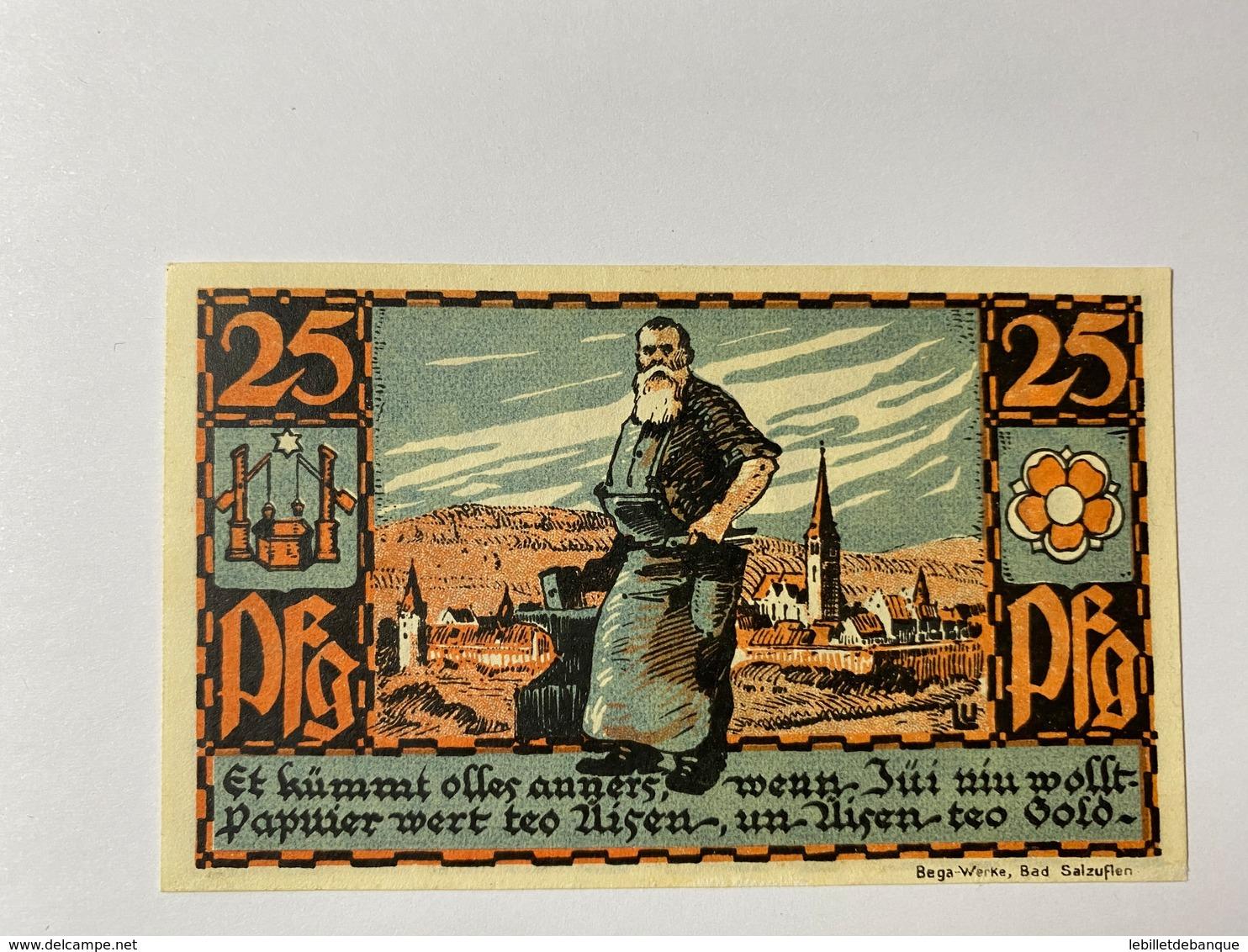 Allemagne Notgeld Salzufen 25 Pfennig - Verzamelingen