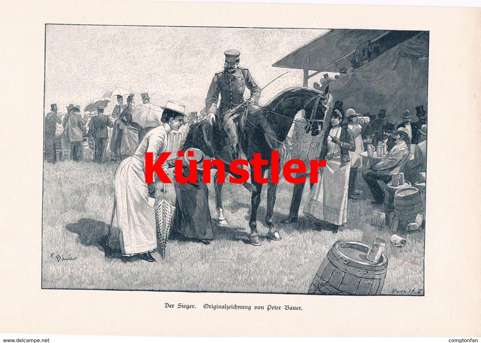 1725 Peter Bauer Der Sieger Militärreiter Kunstblatt 1894 !! - Dokumente