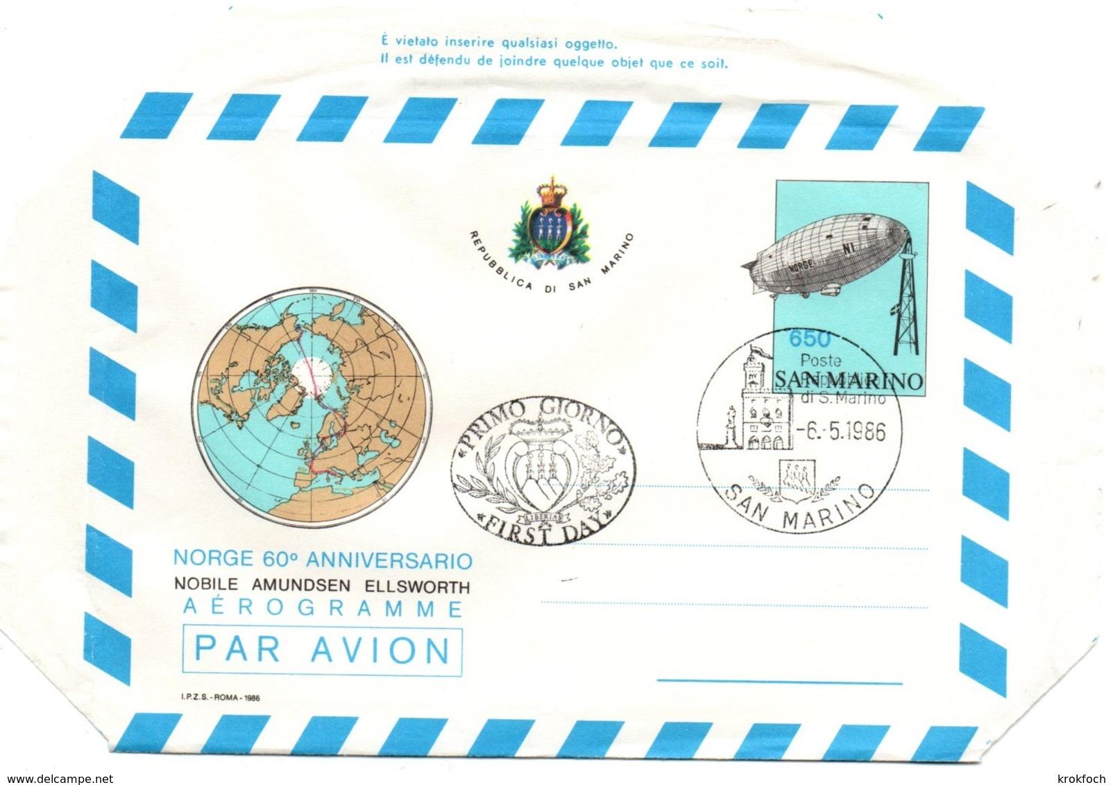 Aérogramme Dirigeable Norge Amundsen 1986 - FDC - Zeppelin Ballon - Pole Nord Arctique - Postal Stationery