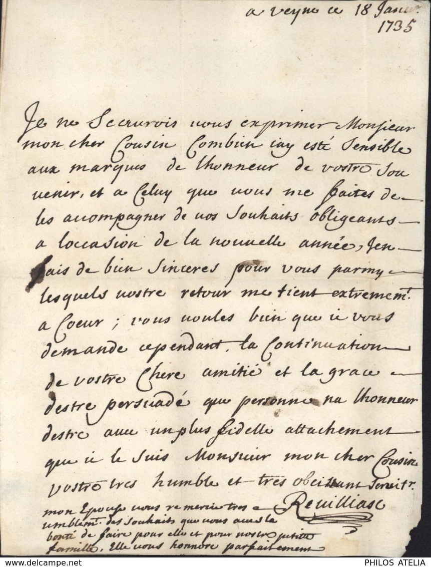 Marque Postale DE GAP Hautes Alpes 05 Lettre De Veyne 18 Jan 1735 Au Marquis De Montmaur Taxe Manuscrite 8 - Poststempel (Briefe)
