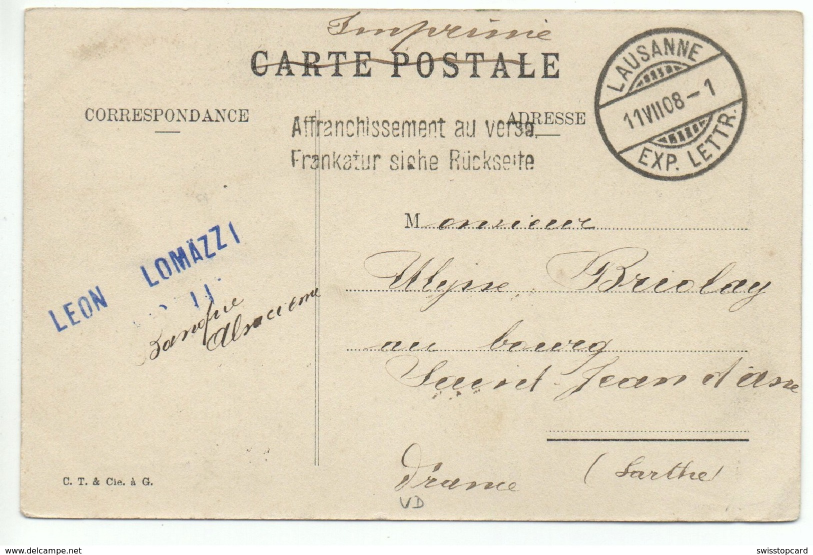 MONTREUX Gel. 1908 V. Lausanne - VD Vaud