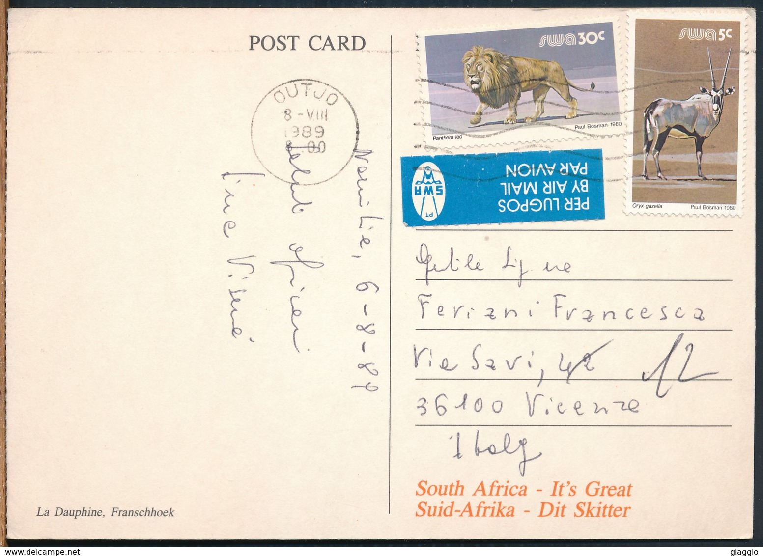 °°° 18903 - SWA NAMIBIA - LA DAUPHINE , FRANSCHHOEK - 1989 With Stamps °°° - Namibia