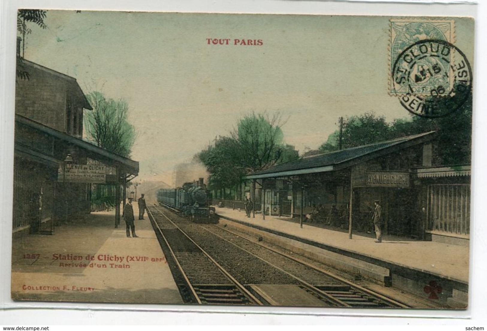 75 TOUT  PARIS1357  Carte RARE Station De Clichy Arrivée D'Un Train En Gare Des Voyageurs Couleur 1906 Timbrée D03 2020 - Distretto: 17