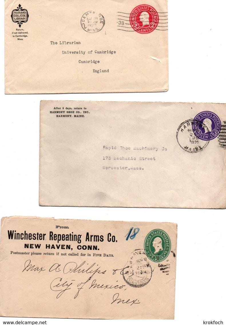 Winchester New Haven - Harvard Cambridge - Harmony Shoe Maine - 3 Stationery 1893 1923 1935 - ...-1900