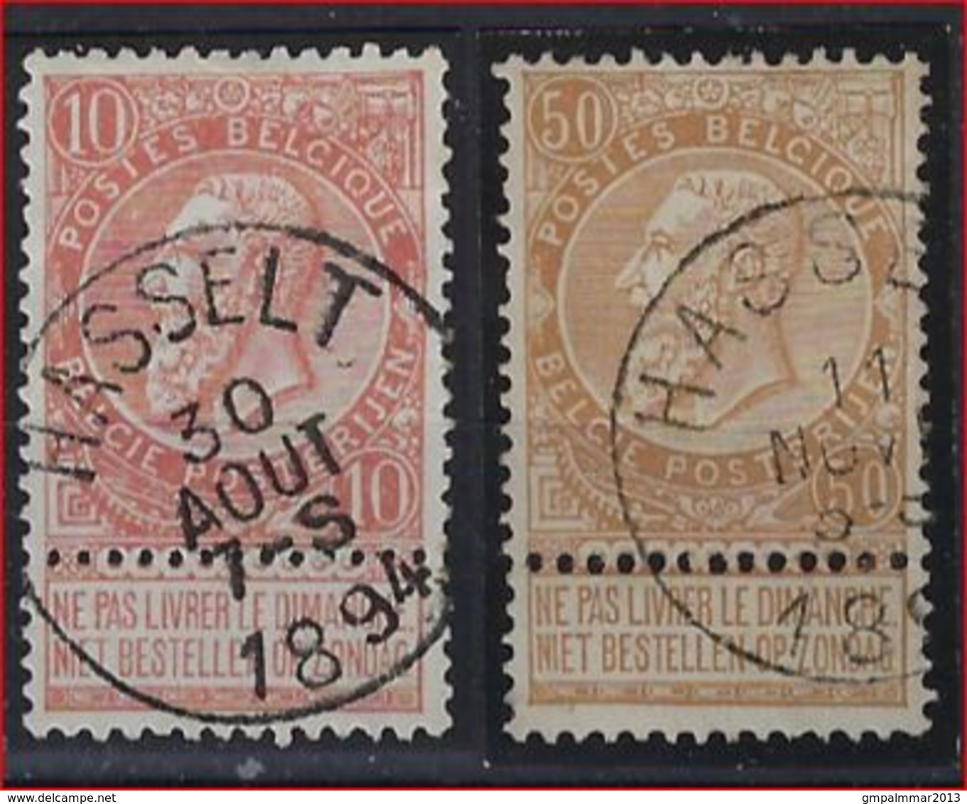 Nrs. 57 En 62 Gestempeld HASSELT ; Staat Zie Scan ! - 1893-1900 Schmaler Bart