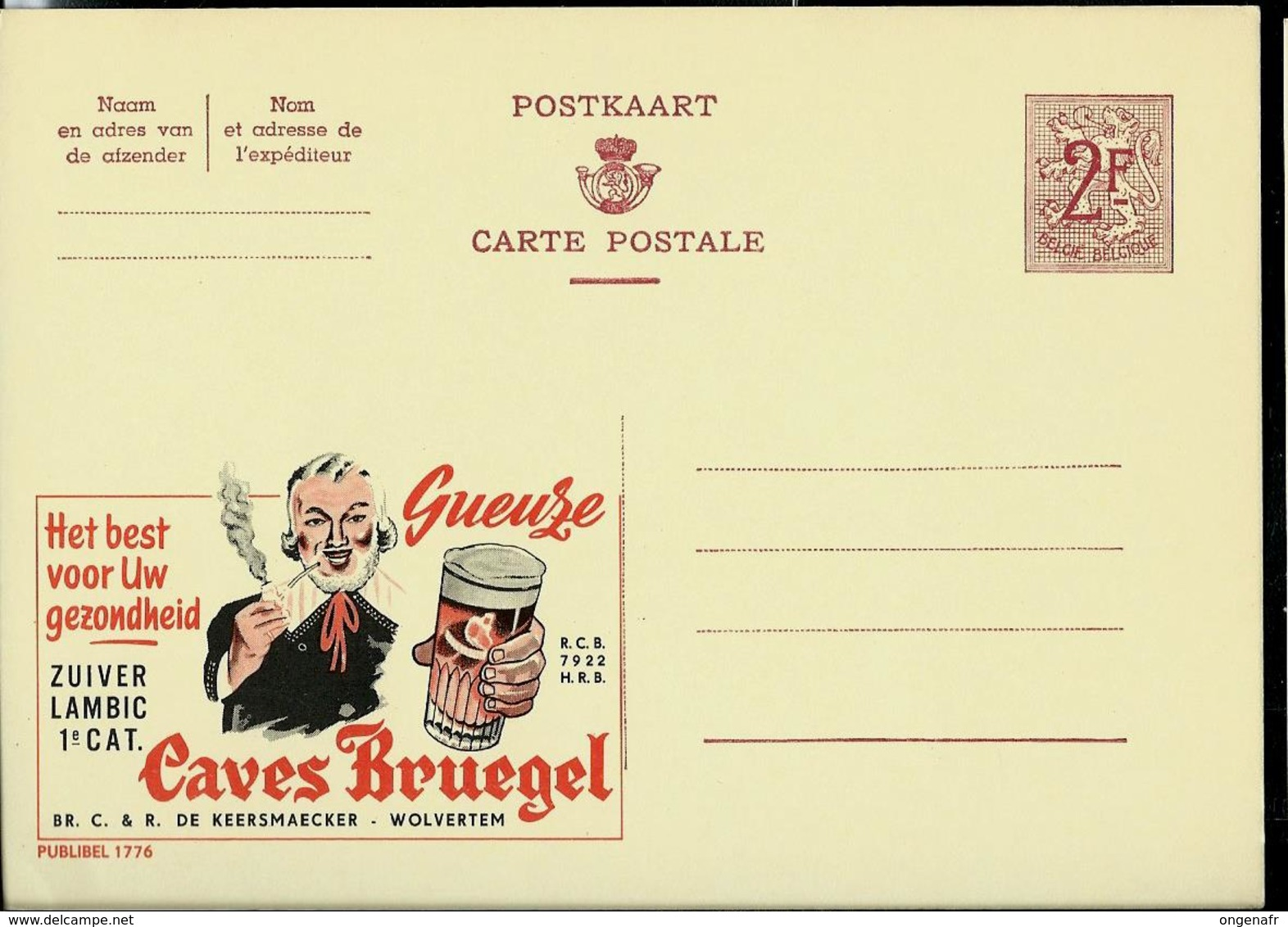 Publibel Neuve N° 1776  ( Bier ; Bière : GEUZE  Caves Brugel - Wolvertem) - Entiers Postaux