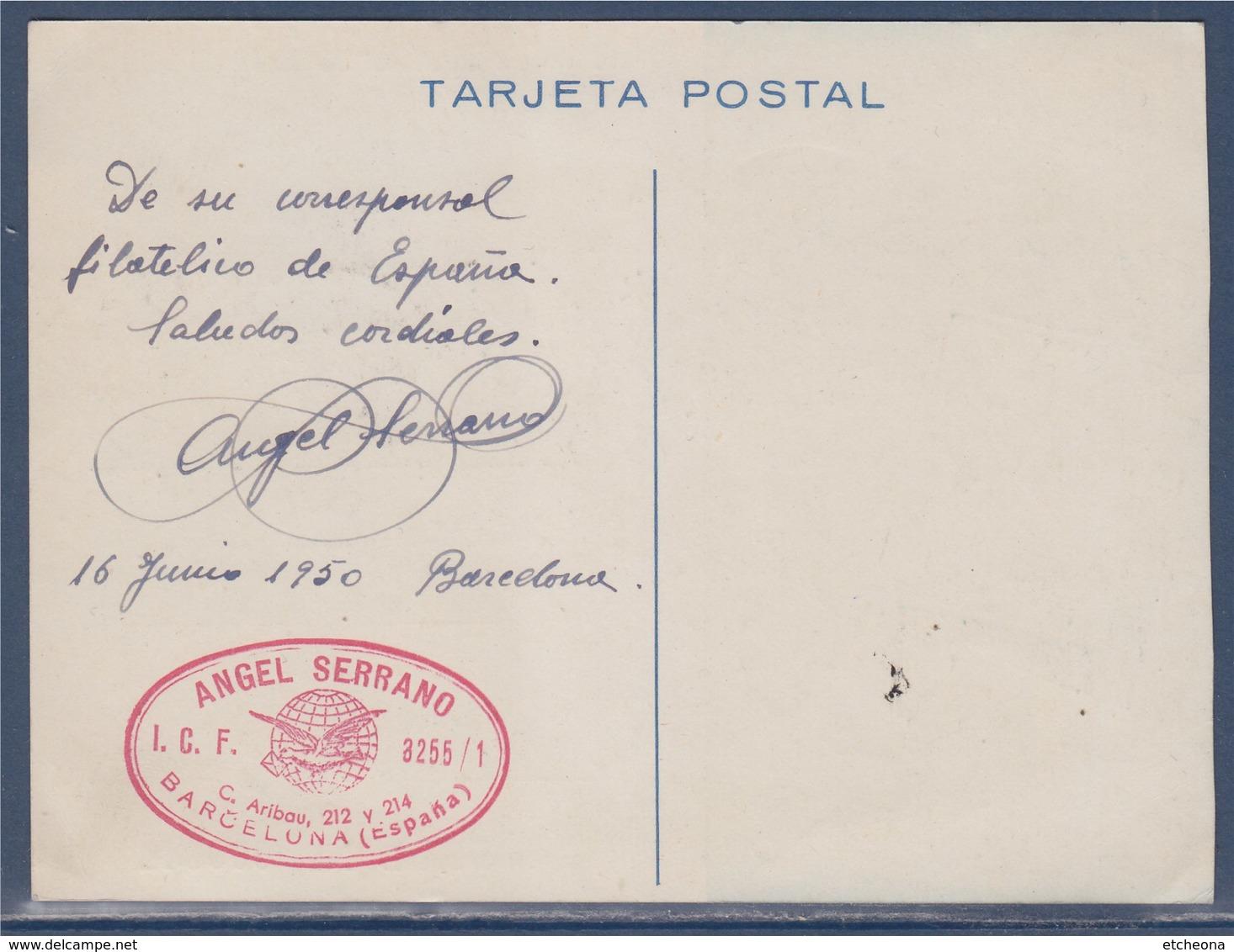= Carte Postale Espagne Exposition Du Cercle Philatélique Et Numismatique De Barcelone 18 Juin 1950 Avec 2 Timbres - 1931-50 Cartas