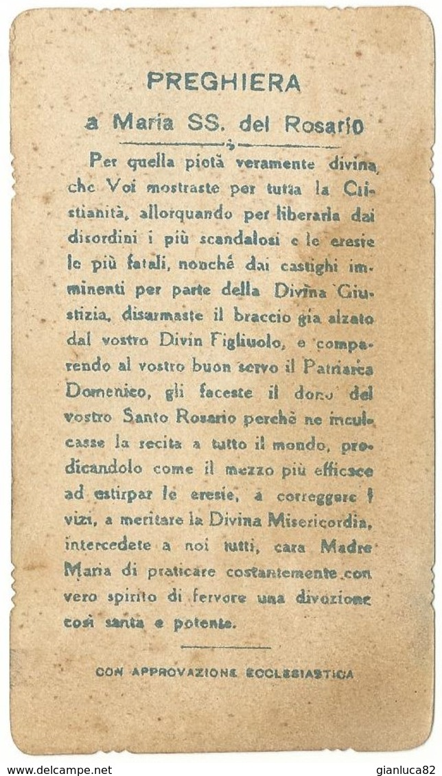Santino Fustellato Regina Sacratissimi Rosarii Con Preghiera (1259) - Santini