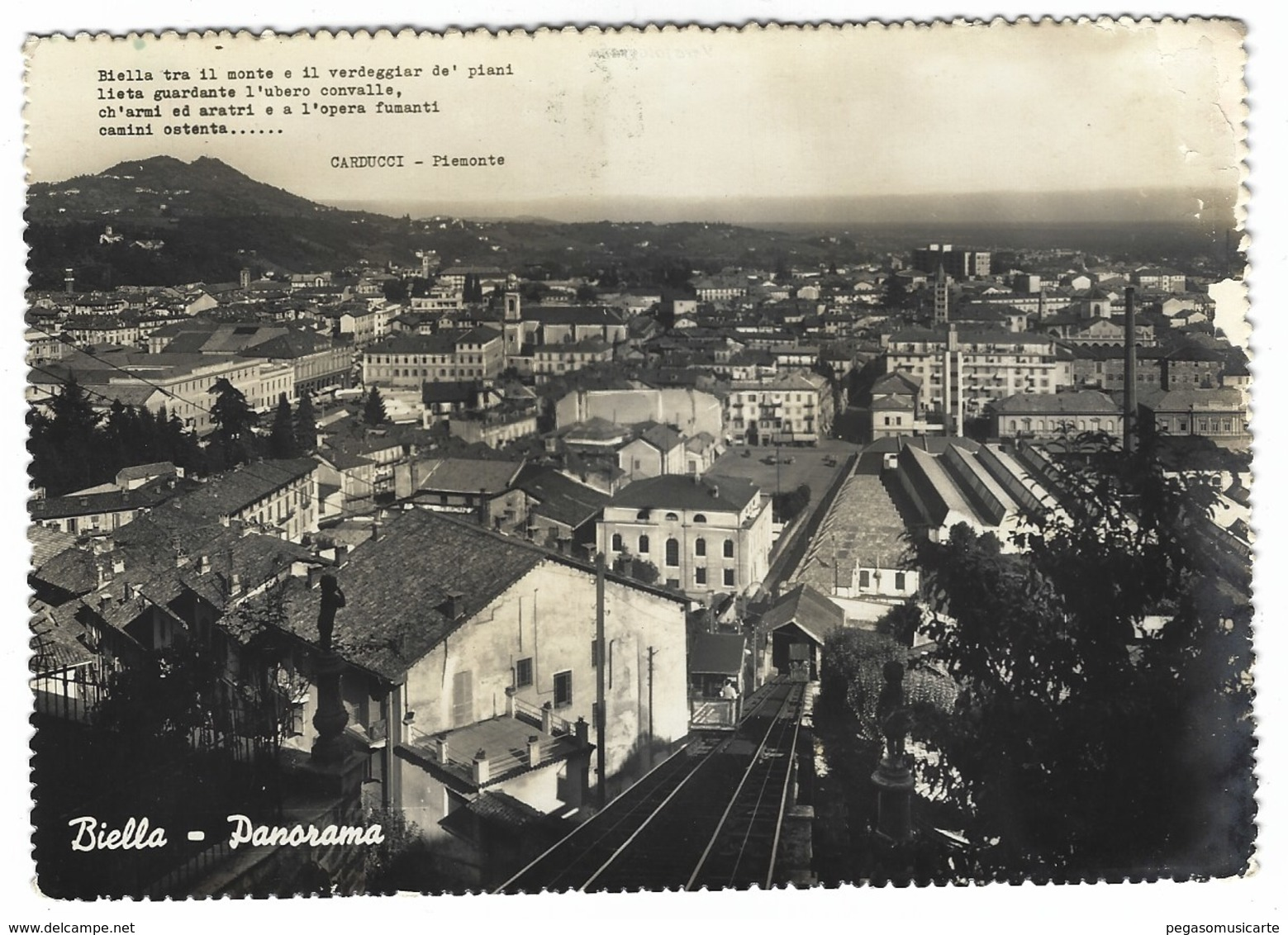 4157 - BIELLA PANORAMA FERROVIA TRENO 1953 - Biella