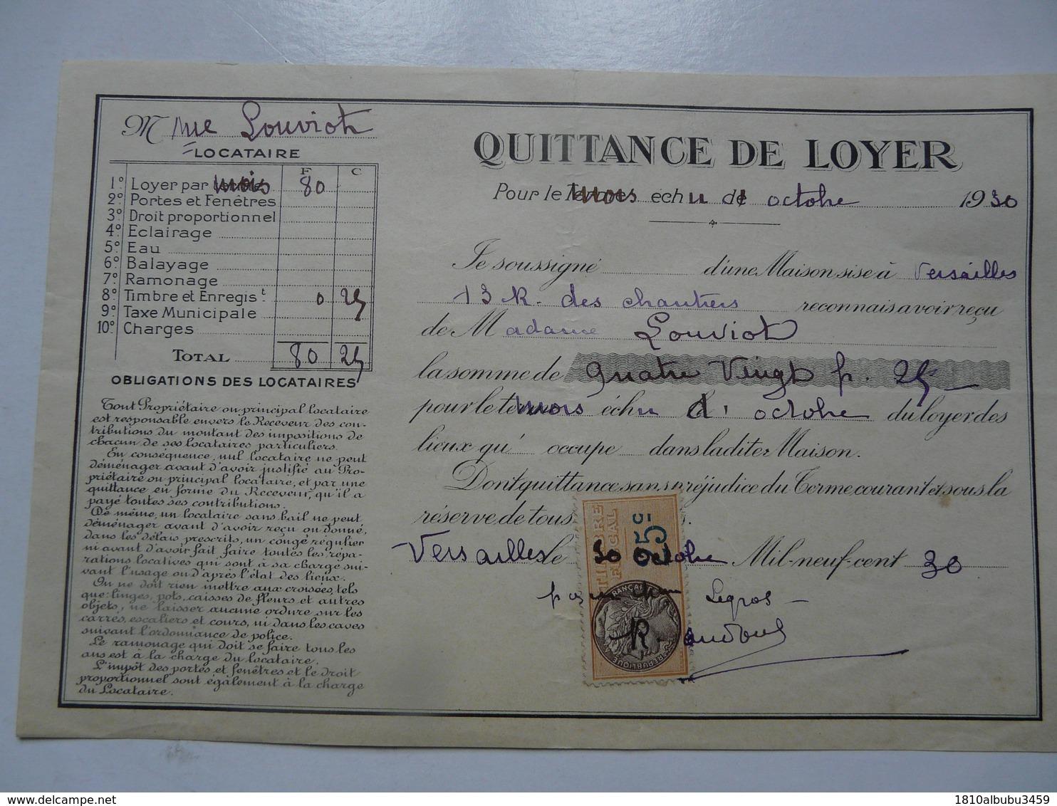 VIEUX PAPIERS - QUITTANCE DE LOYER - Mme LOUVIOT Locataire - Rue Des Chantiers- Octobre 1930 - Versailles - Francia