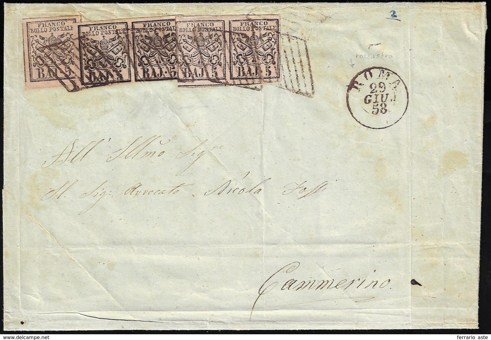 1858 - 5 Baj Rosa Chiaro (6), Due Coppie E Un Singolo, Provenienti Da Tirature Diverse, Lievi Difett... - Etats Pontificaux