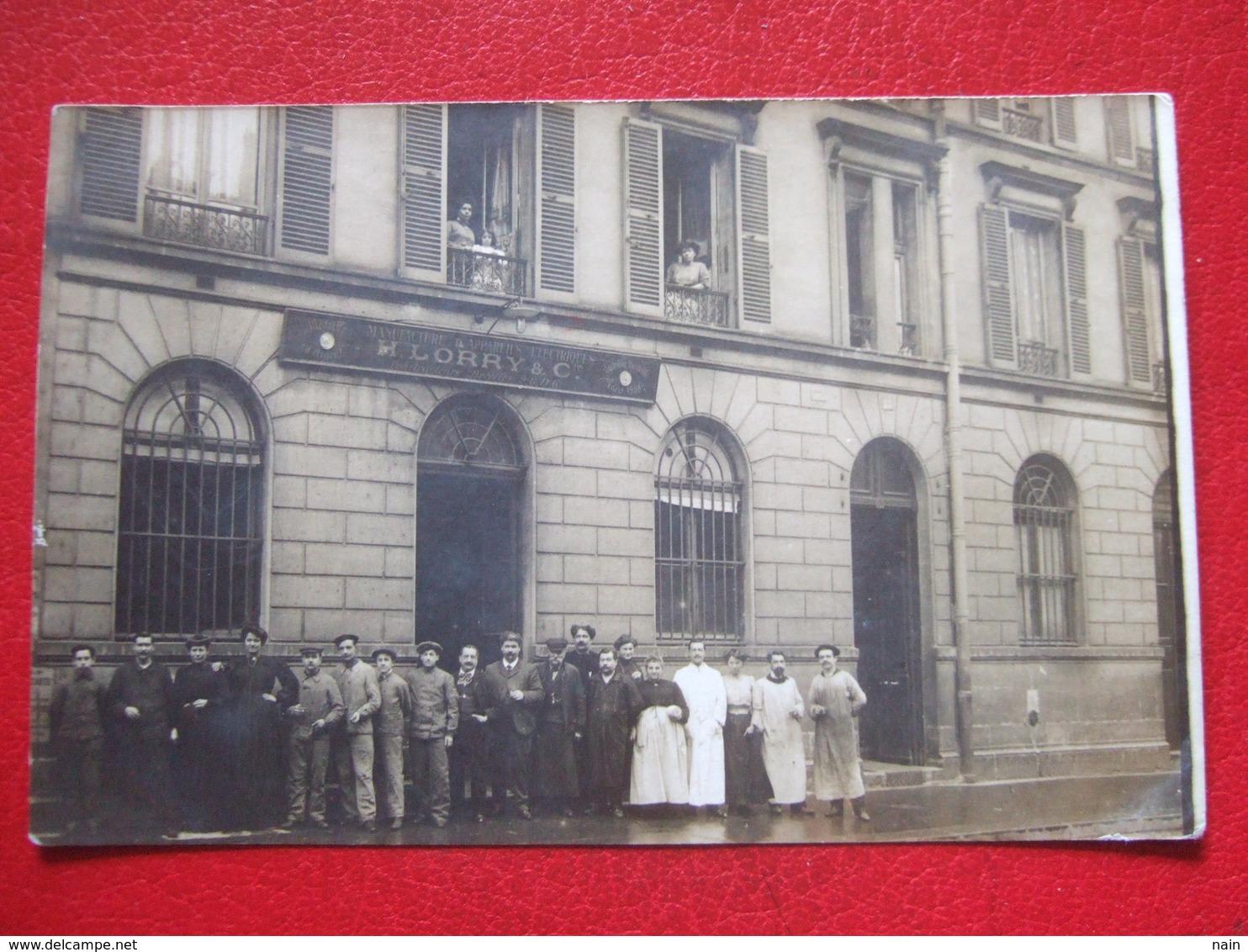 """75 - PARIS - CARTE PHOTO - """" LORY - MANUFACTURE APPAREILS ELECTRIQUE - 13 RUE DE BEARN """" -   """" TRES RARE """" - - France"""