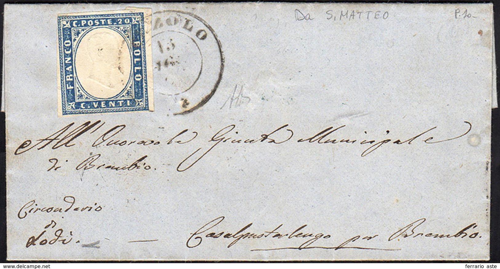 CIZZOLO, Punti 10 - 20 Cent. (15D), Perfetto, Su Lettera Del 13/8/1861 A Brembio. Non Comune! A.Dien... - Sardaigne