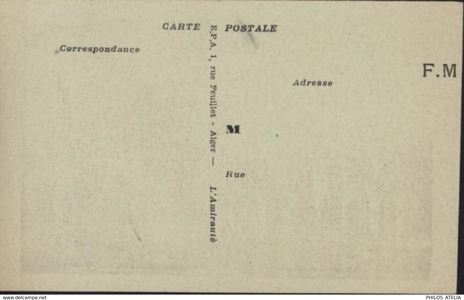 CP Verte Claire  FM Franchise Militaire EPA E.P.A. 1 Rue Feuillet Alger L'Amirauté Algérie - FM-Karten (Militärpost)