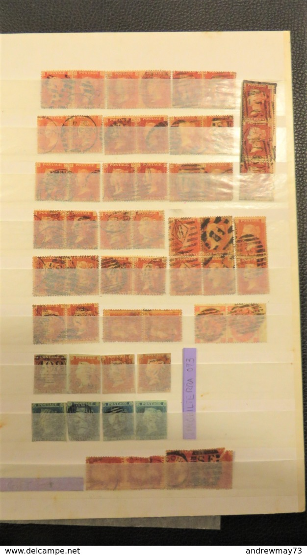 GREAT BRITAIN- NICE PAIRS PENNY RED COLLECTION + PENCE BLUE - Grande-Bretagne