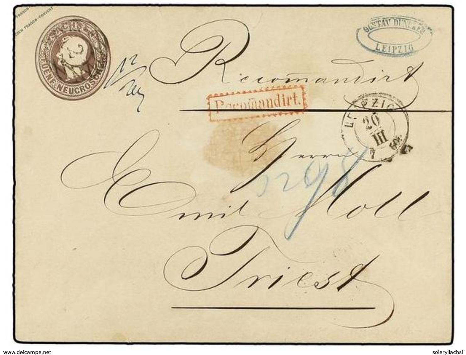 ALEMANIA ANTIGUOS ESTADOS: SAJONIA. 1860. LEIPZIG To TRIEST (Austria). 5 Ngr. Brown Envelope Sent Registered Tied By Ova - Zonder Classificatie