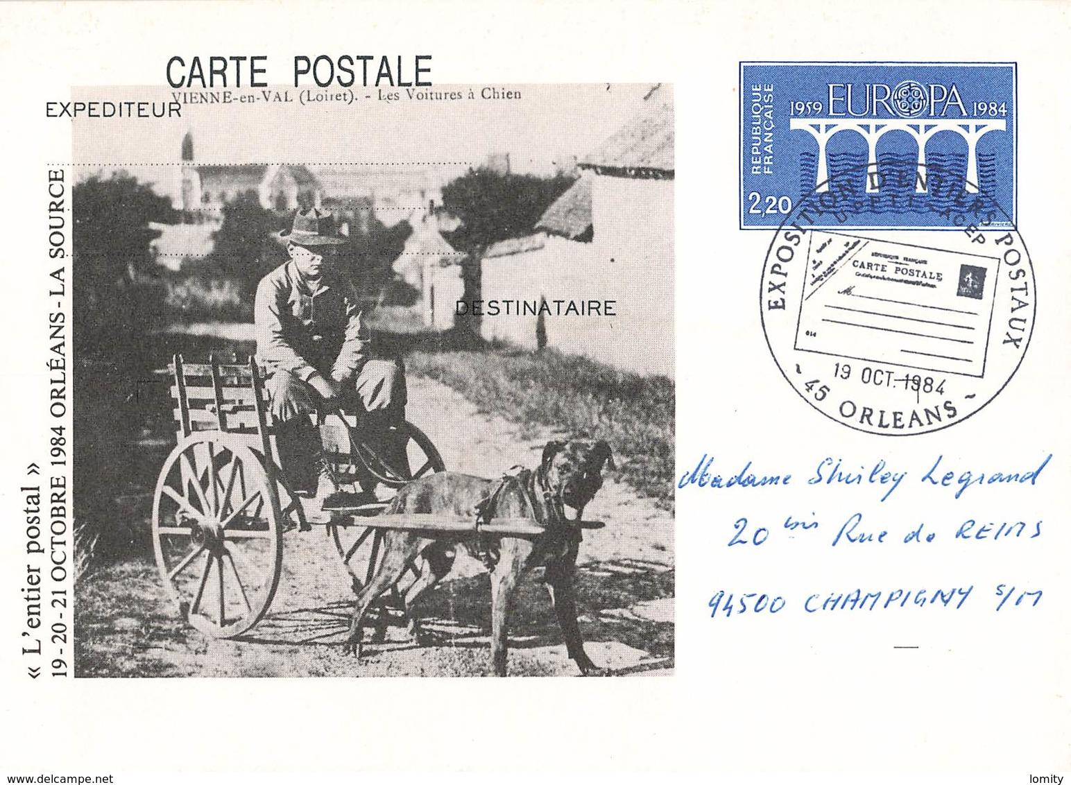 Entier Postal Orleans 1984 Exposition Entiers Postaux Voiture à Chien Vienne En Val  Cachet De L' Exposition - Standard Postcards & Stamped On Demand (before 1995)
