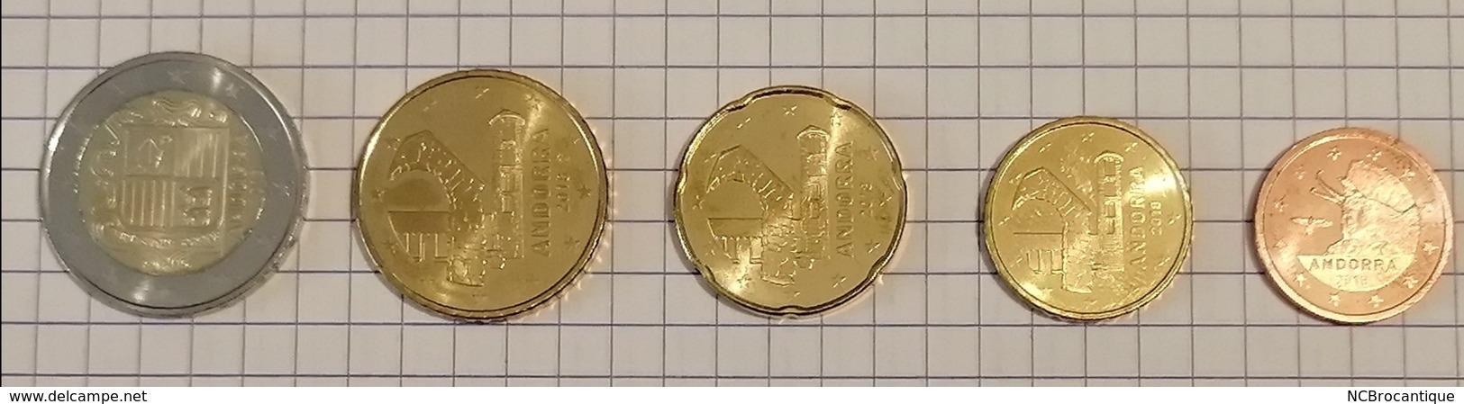 Série 2018 Andorre Andorra (5 Pièces), Pièces 2€- 50 Cent - 20 Cent- 10 Cent Et 2 Cent - Andorra