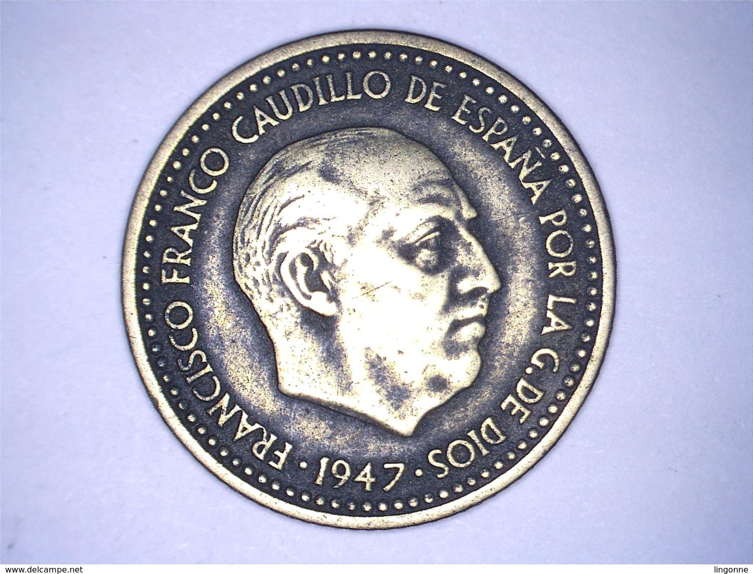 1947 - Espagne - Spain - UNA PESETA, ETOILE 49 - 1 Peseta