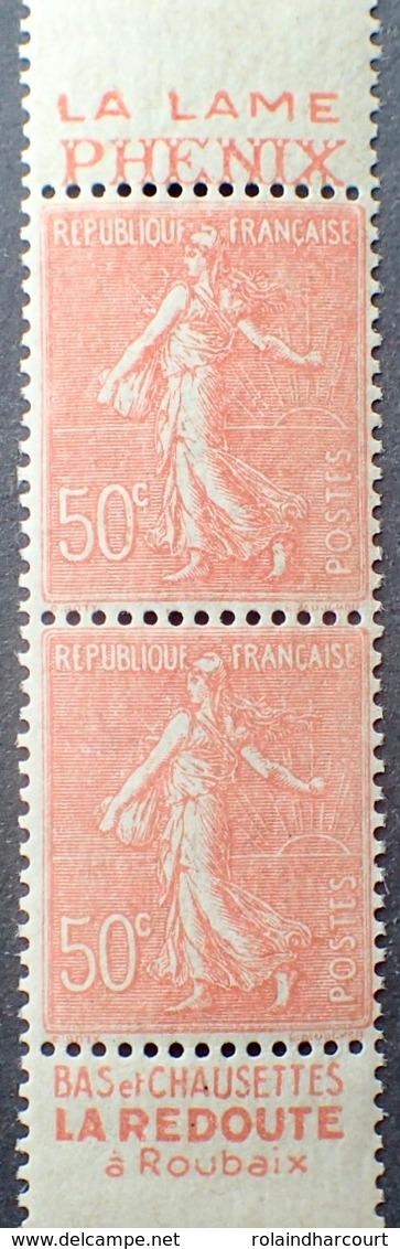 """R1513/32 - 1926 - TYPE SEMEUSE LIGNEE - PAIRE (CARNET) N°199h (IV) TIMBRES NEUFS** Publicité """" Lame PHENIX / REDOUTE """" - Publicités"""