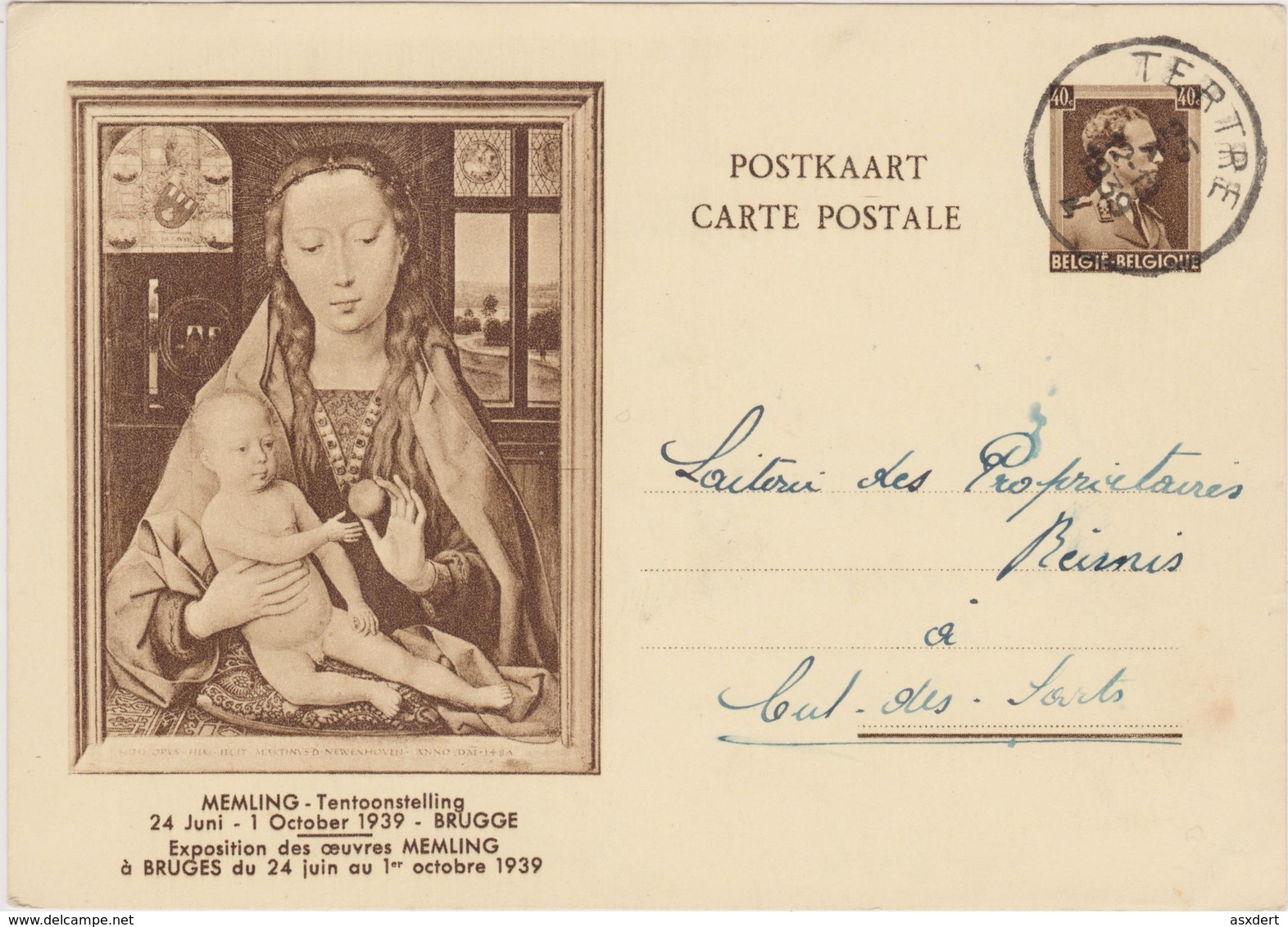 EP.31 Memling Bruges - Obl. Tertre 1939 - Entiers Postaux