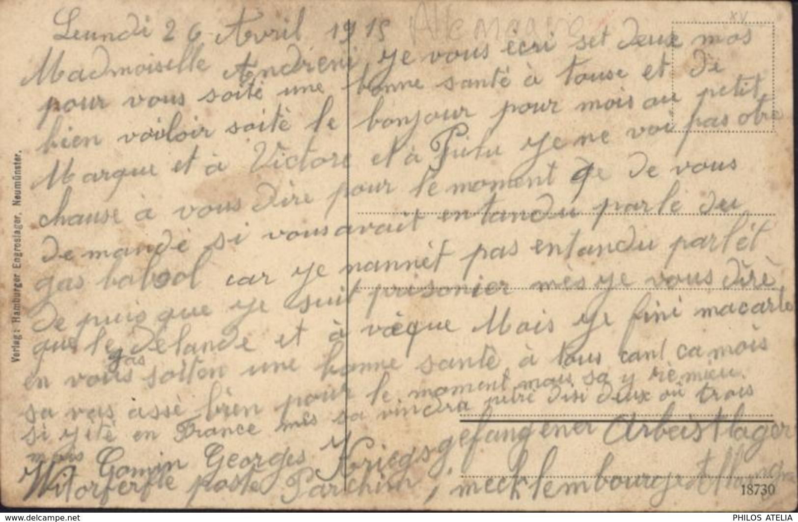 Guerre 14 Prisonnier Français Allemagne Texte Gaz + Gefangenenlager Wittorferfeld Post Parchim I Mecklbg CP Neumünster - Poststempel (Briefe)