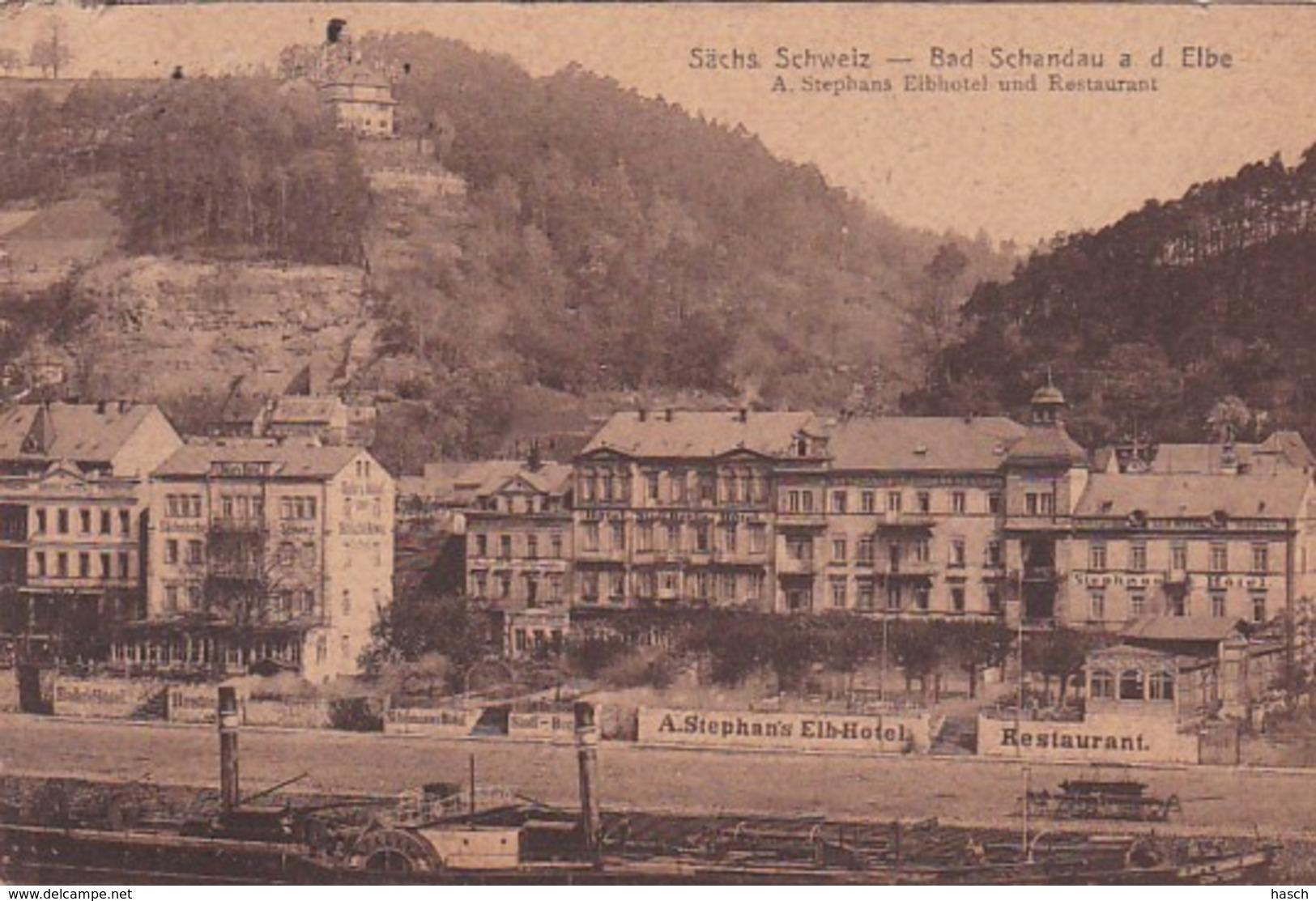 3728194Bad Schandau A D Elbe A. Stephans Eibhotel Und Restaurant. (links Oben Kleines Beschädigung) - Bad Schandau